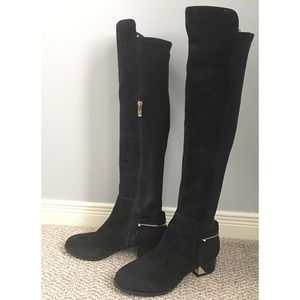 Shoes - Black suede/velvet over-the-knee boots